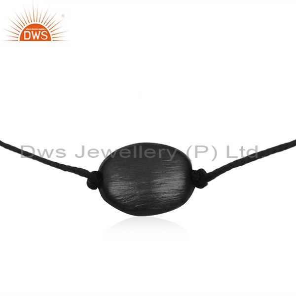 Exporter Black Rhodium Plated 925 Silver Black Cord Bracelet Wholesale SUppliers
