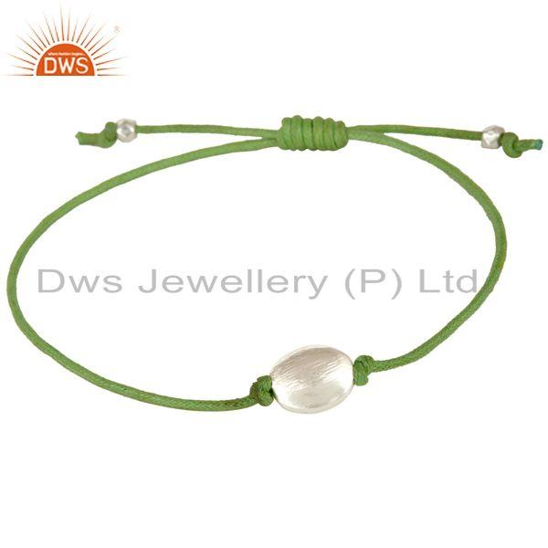 Suppliers Handmade 925 Sterling Silver Green Cotton Dori Macrame 16 Inch Bracelet