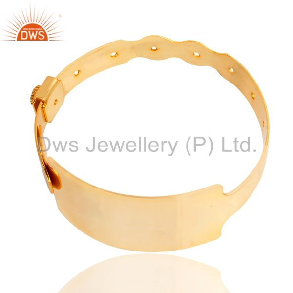 Supplier of 14k yellow gold plated 925 sterling silver handmade art wide bangle