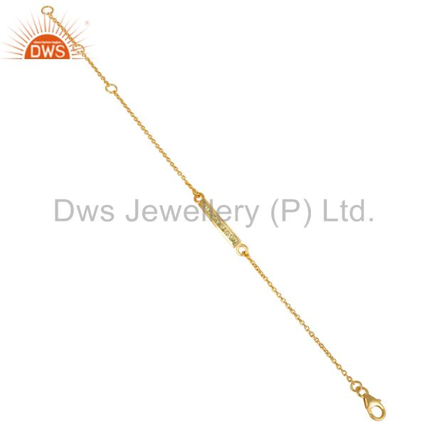 Exporter 14K Gold Plated 925 Sterling Silver Peridot Round Cut Chain Adjustable Bracelet