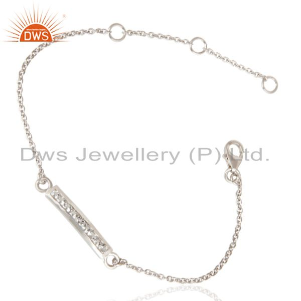 Exporter Handmade White Rodium 925 Sterling Silver White Zircon Chain Adjustable Bracelet