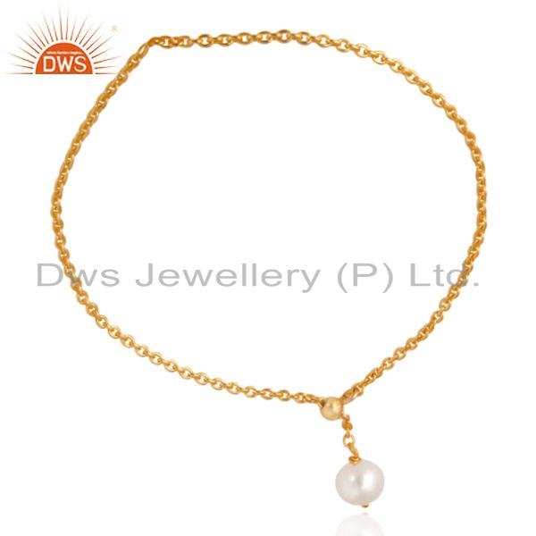 Exporter 18K Yellow Gold Plated 925 Sterling Silver Pearl Beads Chain Drops Bracelet