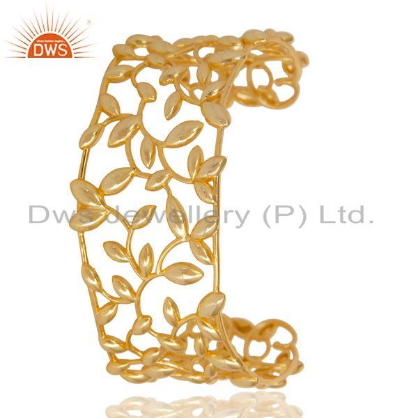 Exporter Olive Leaf Cuff 925 Sterling Silver 18k Gold Plated Jewelry