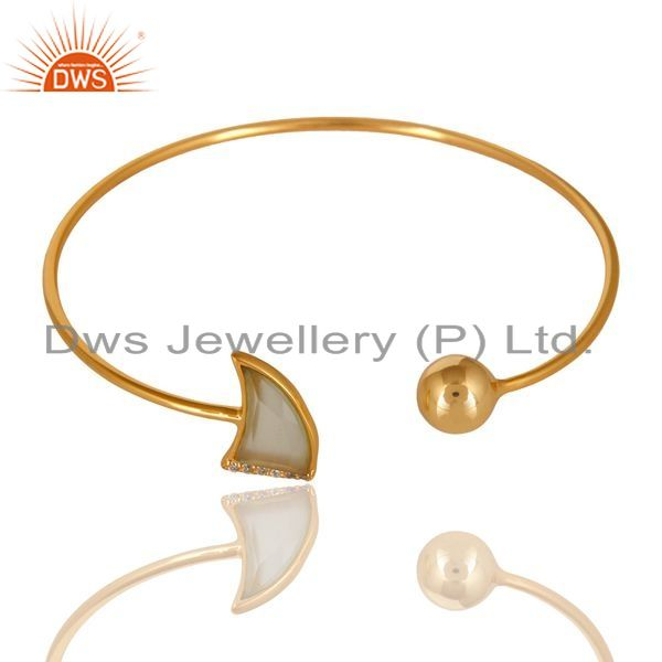 Exporter 14K Gold Plated 925 Sterling Silver Handmade Dyed Chalcedony Zircon Bangle
