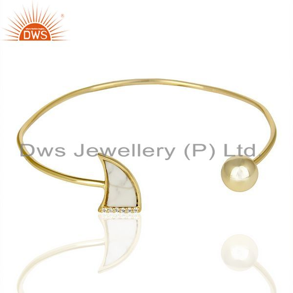 Exporter Howlite Horn Openable Gold Plated Bangle Studded With White Cz In Solid Silver