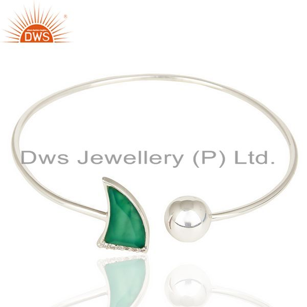 Exporter Green Onyx Openable Horn Bangle In Solid 92.5 Sterling Silver FashionJewelry