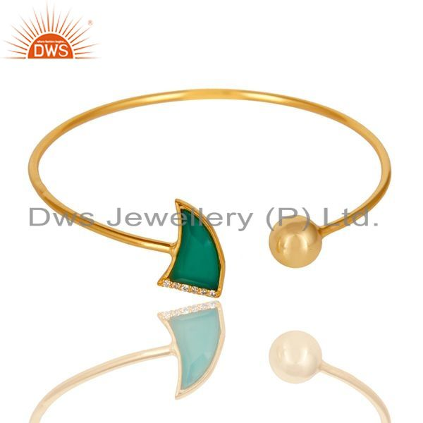 Exporter Green Onyx CZ Sleek 14K Gold Plated 925 Sterling Silver Cuff Bangle Jewelry