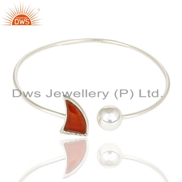Exporter Red Onyx Openable Horn Bangle 92.5 Sterling Silver Fashion Bangle