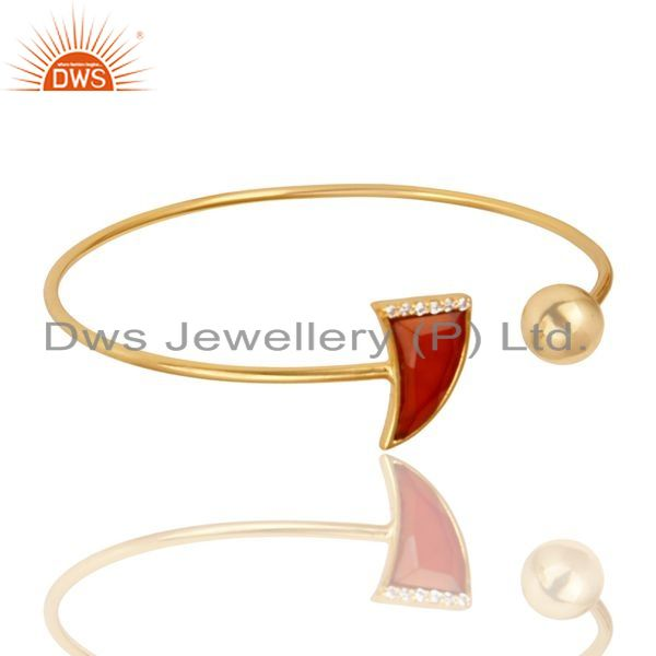 Exporter Red Onyx CZ Sleek 14K Yellow Gold Plated 925 Sterling Silver Cuff Bangle Jewelry