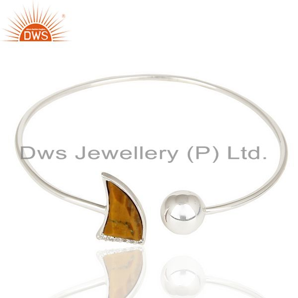Exporter Tigereye Studded Horn Bangle In Solid 92.5 Silver Daisy Jewelry