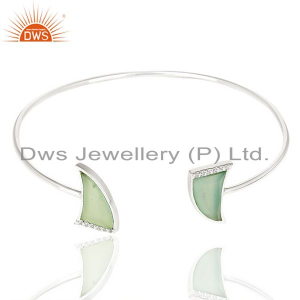 Exporter Aqua Chalcedony Two Horn Studded Bangle In Solid 92.5 Sterling Silver