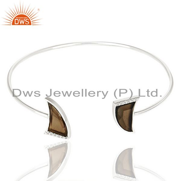 Exporter Smoky Topaz Two Horn Studded Bangle In Solid 92.5 Sterling Silver