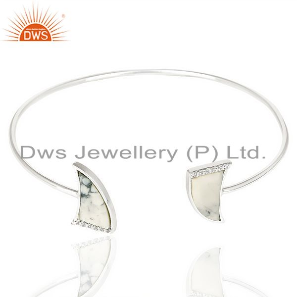 Exporter Howlite Two Horn Studded Bangle In Solid 92.5 Sterling Silver