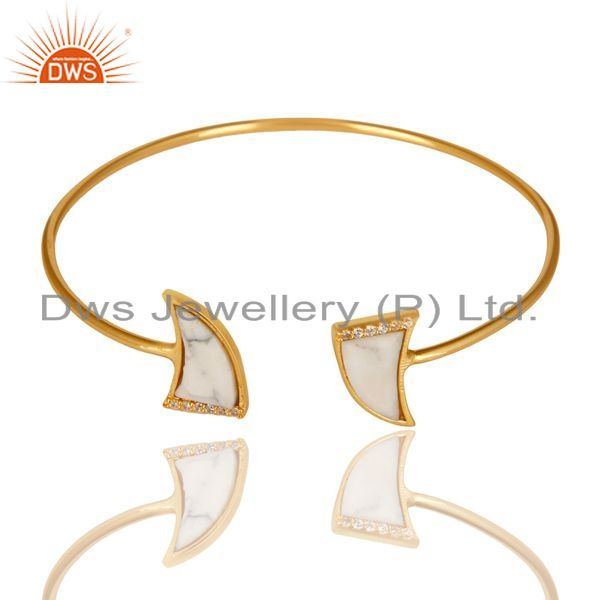 Exporter White Howlite CZ Sleek 14K Gold Plated 925 Sterling Silver Cuff Bangle Jewelry