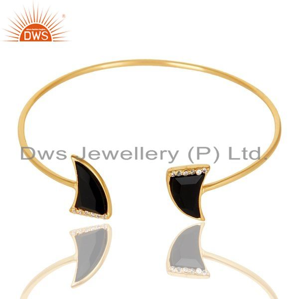 Exporter Black Onyx CZ Sleek 14K Gold Plated 925 Sterling Silver Cuff Bangle Jewelry