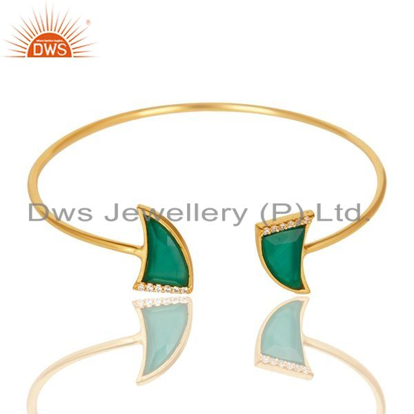 Exporter Green Onyx CZ Sleek 14K Yellow Gold Plated Sterling Silver Cuff Bangle Jewelry