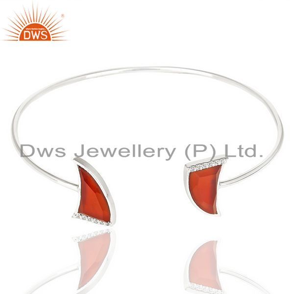 Exporter Red Onyx Two Horn Studded Bangle In Solid 92.5 Sterling Silver