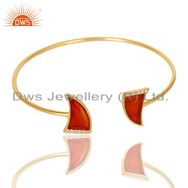 Exporter Red Onyx CZ Sleek 14K Yellow Gold Plated Sterling Silver Cuff Bangle Jewelry