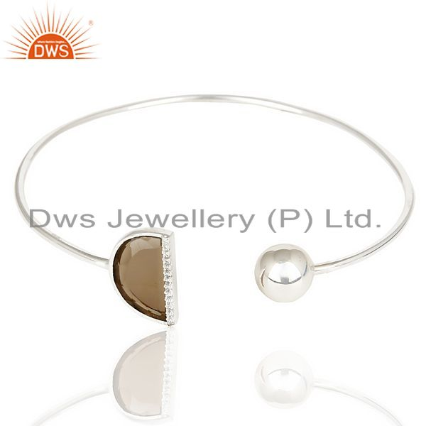 Exporter Smoky Topaz Half Moon Bangle Studded With Cz In Solid 92.5 Sterling Silver