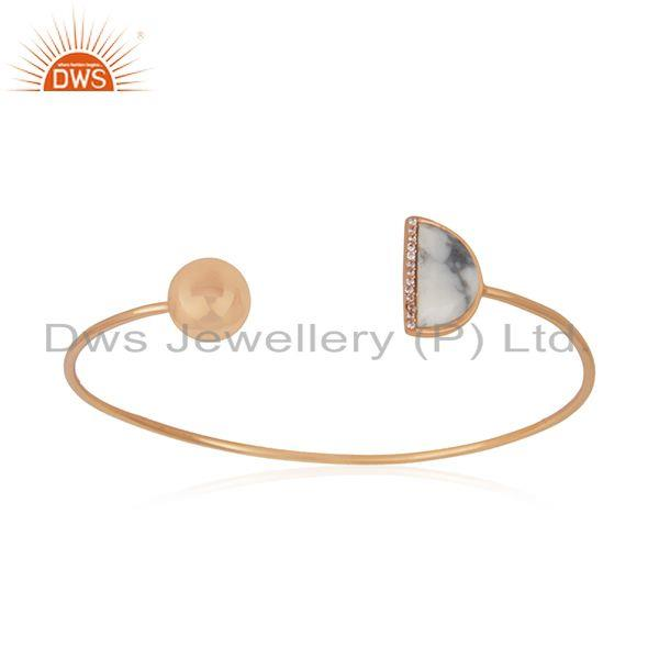 Exporter CZ Howlite Gemstone Rose Gold Plated Silver Cuff Bangle Jewelry