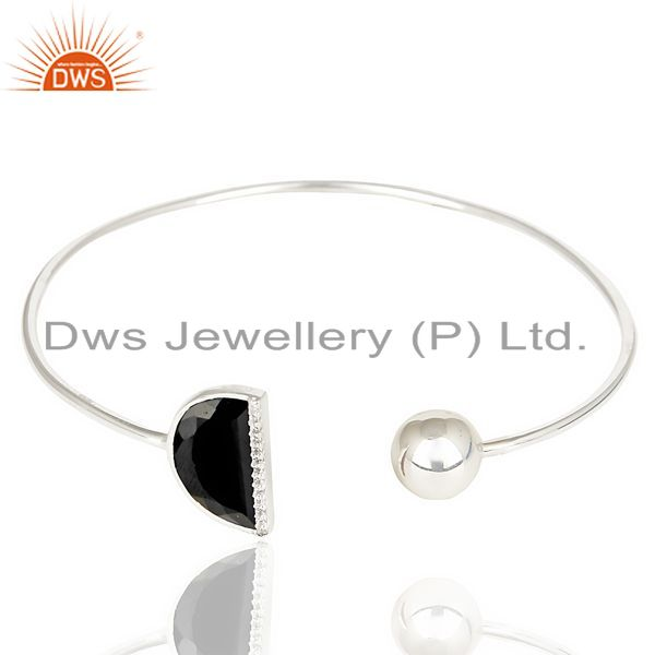 Exporter Black Onyx Half Moon Openable Bangle Fashionable Bangle In 92.5 Sterling Silver
