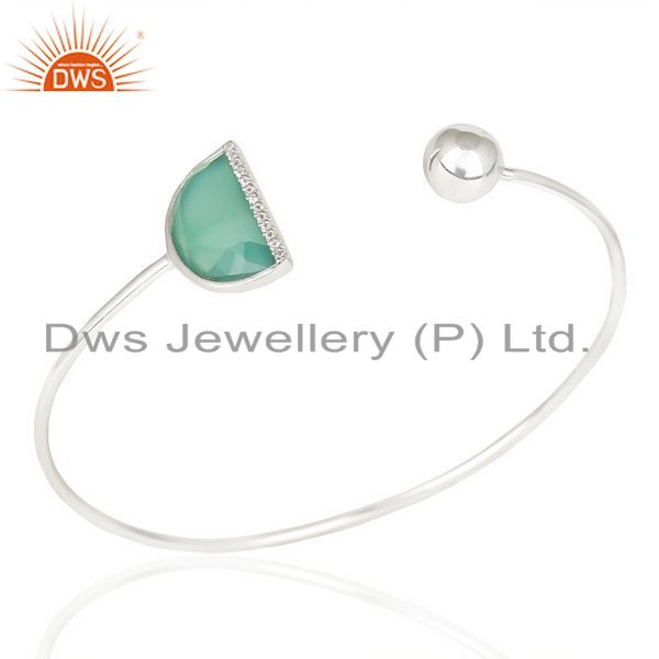 Exporter Green Onyx Half Moon Bangle Fashionable Openable Bangle In Sterling Silver