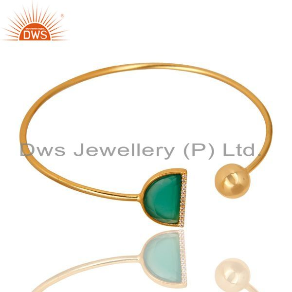 Exporter Green Onyx CZ Sleek 14K Gold Plated Sterling Silver Cuff Bangle Jewelry