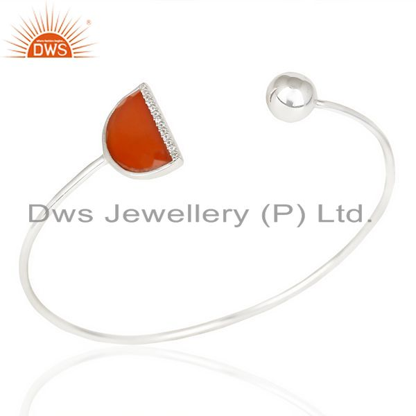 Exporter Red Onyx Half Moon Bangle Studded In 92.5 Sterling Silver