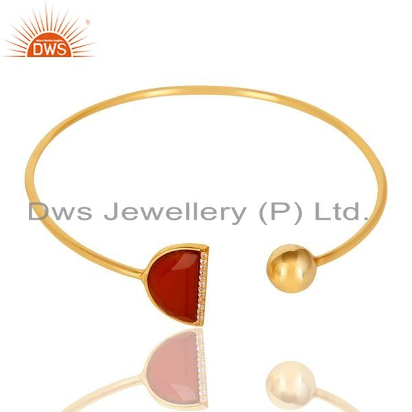 Exporter Red Onyx CZ Sleek 14K Gold Plated 925 Sterling Silver Cuff Bangle Jewelry
