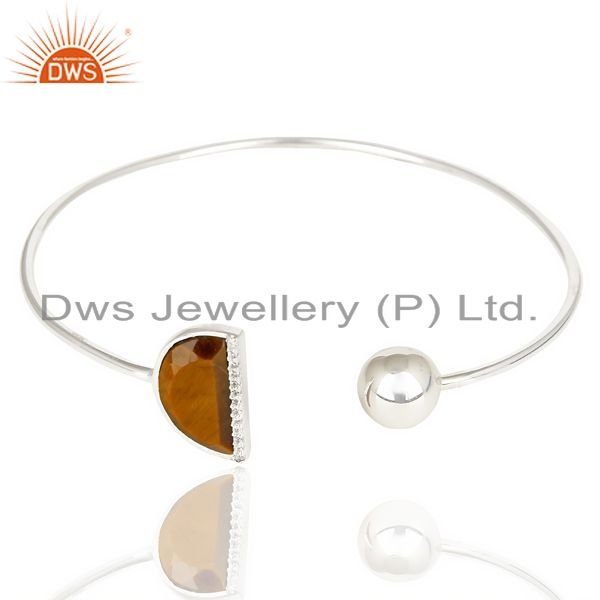 Exporter Tigereye Half Moon Bangle Studded with Zircon In Sterling Silver