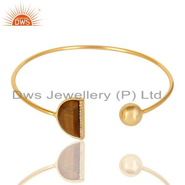 Exporter Tiger Eye CZ Sleek 14K Gold Plated Sterling Silver Cuff Bangle Jewelry