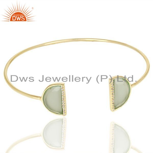 Exporter Aqua Chalcedony Two Half Moon Gold Plated Bangle Studded With Cz In Solid Silver