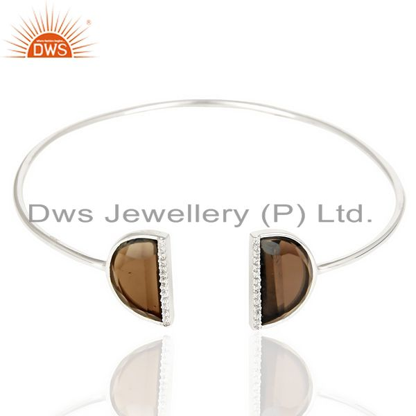Exporter Smoky Topaz Two Half Moon Bangle Studded With Cz In 92.5 Sterling Silver