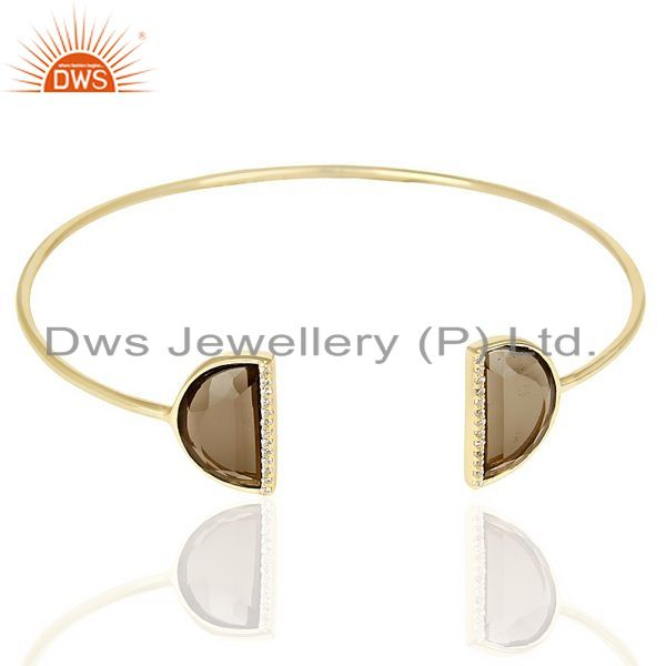Exporter Smoky Topaz Two Half Moon 14 KGold Plated Bangle Studded With Cz In Solid Silver