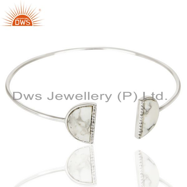 Exporter Howlite Two Half Moon Bangle Studded With Cz In 92.5 Sterling Silver