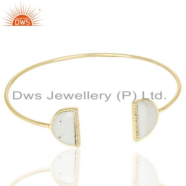 Exporter Howlite Two Half Moon 14 K Gold Plated Bangle Studded With Cz In Solid Silver