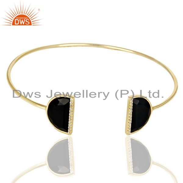 Exporter Black Onyx Two Half Moon Studded Gold Plate Bangle In Sterling Silver