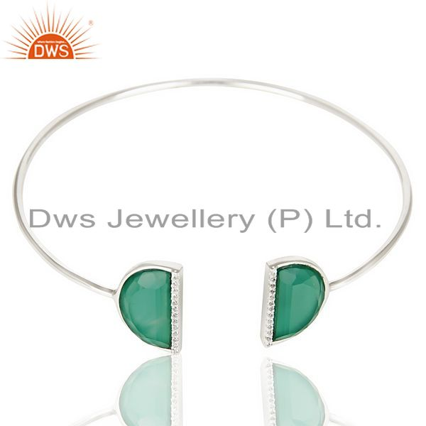 Exporter Green Onyx Studded Two Half Moon bangle In Solid 92.5 Sterling Silver