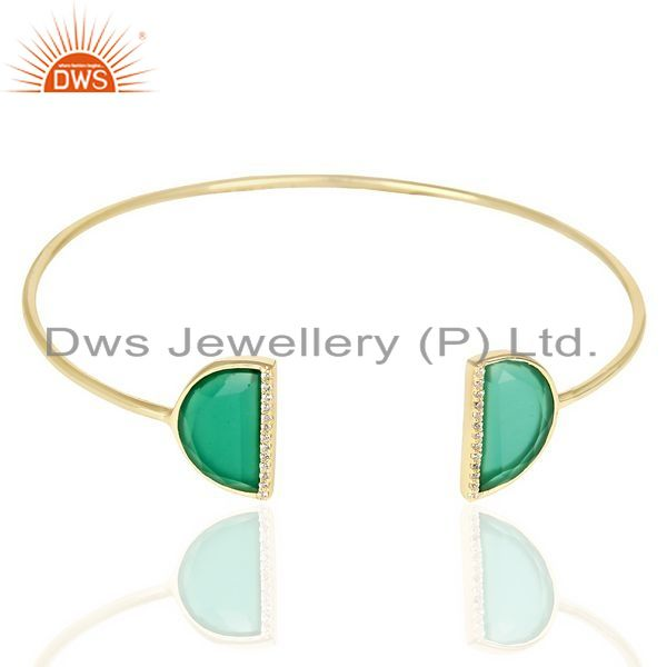 Exporter Green Onyx Two Half Moon Studded Gold Plate Bangle In Sterling Silver
