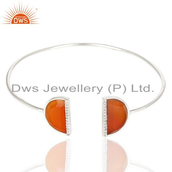 Exporter Red Onyx Studded Two Half Moon bangle In Solid 92.5 Sterling Silver