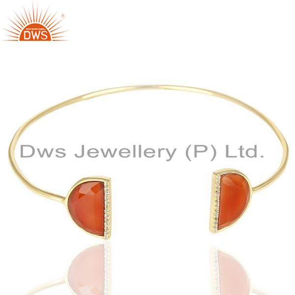 Exporter Red Onyx Two Half Moon Studded Gold Plate Bangle In Sterling Silver