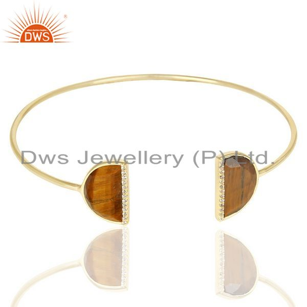 Exporter Tigereye Two Half Moon Studded Gold Plate Bangle In Sterling Silver