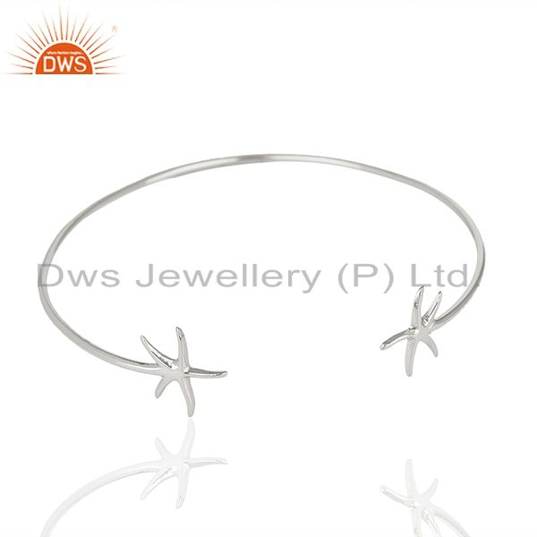 Exporter Star Fish Style Handmade 925 Sterling Silver Cuff Plain Bangle Wholesale Jewelry