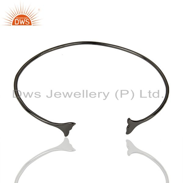 Exporter Dolphin Tail Adjustable Openable Black Rhodium 92.5 Sterling Silver Bangle