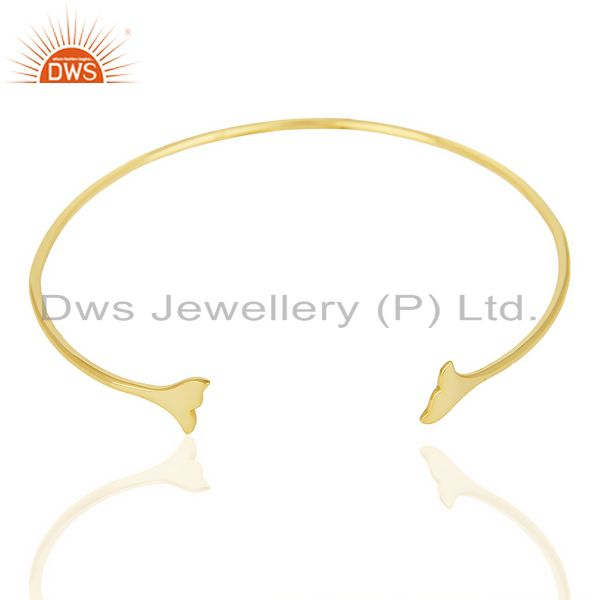Exporter Dolphin Tail Adjustable Openable 14K Gold Plated  92.5 Sterling Silver Bangle