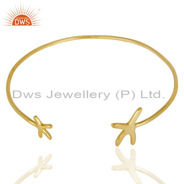 Exporter Star Fish Bangle,Openable Adjustable Bangle 14K Gold Plated In Solid Silver