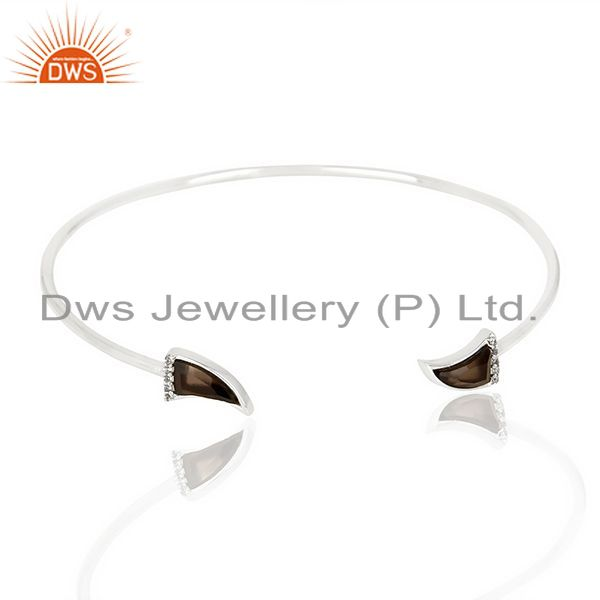 Smoky Topaz Unisex Tooth Horn Openable Adjustable Sterling Silver Bangle