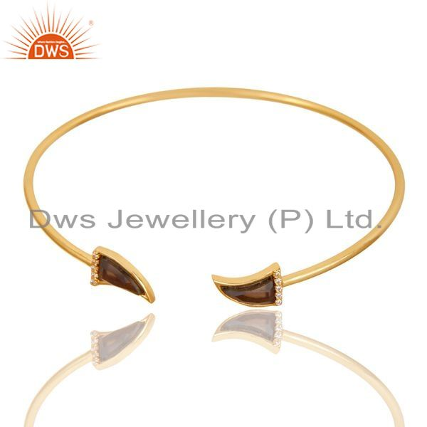 Exporter Smoky Topaz Tooth Unisex Gold Plated Sterling Silver Openable Bangle