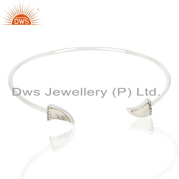 Howlite Unisex Tooth Horn Openable Adjustable Sterling Silver Bangle