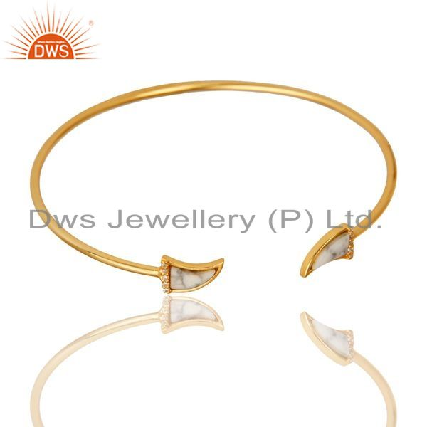 Howlite Tooth Unisex Gold Plated Sterling Silver Openable Bangle